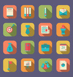 Modern flat icons of web design objects, business, office and ma Royalty Free Stock Images