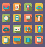 Modern flat icons of web design objects, business, office and ma Royalty Free Stock Photography