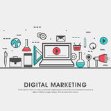 Modern flat illustration for Digital Marketing. Royalty Free Stock Image