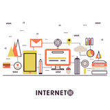 Modern flat illustration of Internet concept. Royalty Free Stock Photos