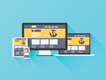 Modern flat illustration of website coding, progra Royalty Free Stock Images