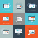 Modern flat internet marketing business vector illustrations set Stock Photography