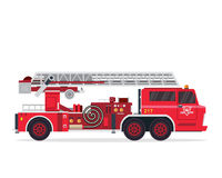 Modern Flat Isolated Firefighter Truck Illustration Stock Image