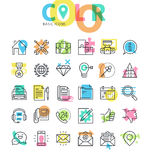 Modern flat line basic icons set. For web and app design and development Stock Image