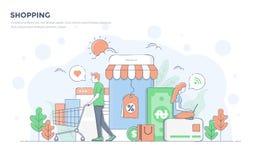 Flat Line Modern Concept Illustration - Shopping Royalty Free Stock Image