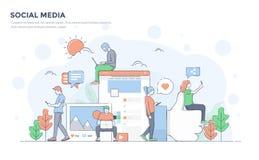 Flat Line Modern Concept Illustration - Social Media Stock Image