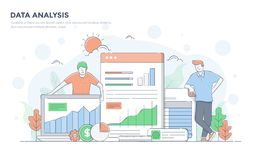 Flat Line Modern Concept Illustration - Data Analysis Stock Photos