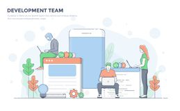 Flat Line Modern Concept Illustration - Development Team Stock Images