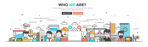 Modern Flat Line Color hero image of Who we are. For website and mobile website, easy to use and highly customizable. Modern vector illustration concept Royalty Free Stock Image