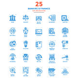 Modern Flat Line Color Icons- Banking and Finance Stock Photography