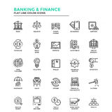 Modern Flat Line Color Icons- Banking and Finance. Set of Modern Flat Line icon Concept of Banking and Finance, Investment, Value, Online Banking, etc. use in Stock Images