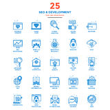 Modern Flat Line Color Icons- SEO and Development Stock Photo
