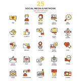 Modern Flat Line Color Icons- Shocial Media and Network Royalty Free Stock Image