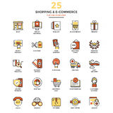 Modern Flat Line Color Icons- Shopping and E commerce. Set of Modern Flat Line icon Concept of shopping, e-commerce, m-commerce, delivery, use in Web Project and royalty free illustration