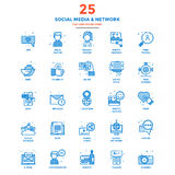 Modern Flat Line Color Icons- Social Media and Network Stock Photo