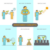 Modern Flat line design concept of Financial Investment, Investment Issues, Financial climate. Investment contribution, investment income, Investment analyst Royalty Free Stock Images