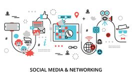 Concept of social media, social networking. Modern flat line design vector illustration, concept of social media, social networking, web communtity and posting Stock Photos