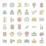 Modern flat linear colorful vector wedding icons Royalty Free Stock Images