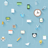 Modern flat  office icons set with long shadows. Stock Photo