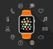 Modern flat orange smartwatch with app icons on grey background Royalty Free Stock Photography
