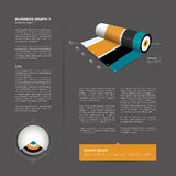 Modern flat page layout with text and chart diagra Stock Images