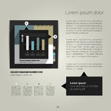 Modern flat page layout with text and graph. Stock Images