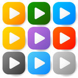 Modern flat play buttons with smooth gradients Stock Images