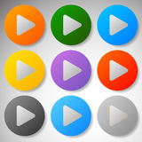 Modern flat play buttons with smooth gradients Stock Photography
