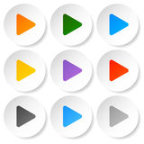 Modern flat play buttons with smooth gradients Royalty Free Stock Photo
