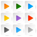 Modern flat play buttons with smooth gradients Royalty Free Stock Image