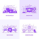 Flat line Purple Designed Concepts 18. Modern Flat Purple color line designed concepts icons for Bitcoin Wallet, Encryption, Blockchain and Decentralized. Can be Royalty Free Stock Images