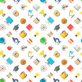 Modern Flat School Icons Seamless Pattern. Modern flat vector seamless pattern of school icons and education symbols. School supplies and objects scattered on Royalty Free Stock Images