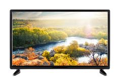 Modern flat-screen TV and autumn landscape with river on it Stock Photo