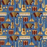 Modern flat   seamless pattern with music instruments. Guitar synthesizer saxophone lira balalaika drum garmon maracas violin Stock Photos