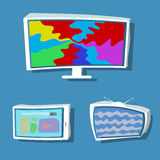 Modern flat set, TVs and tablet Royalty Free Stock Images