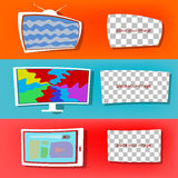 Modern flat set, TVs and tablet, window to insert an image Stock Photos