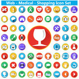 Modern flat shopping icons with long shadow effect in stylish colors of shopping web medical objects and items Stock Photos