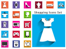 Modern flat shopping icons with long shadow effect in stylish Royalty Free Stock Photos