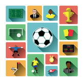 Modern flat soccer icons set with long shadow effect Royalty Free Stock Photography