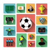 Modern flat soccer icons set with long shadow effect Royalty Free Stock Images