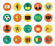 Modern flat soccer icons set with long shadow effect Stock Images