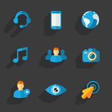 Modern flat social icons set on Dark. This is a vector illustration of Modern flat social icons set on Dark Stock Photos