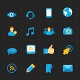 Modern flat social icons set on Dark Stock Image