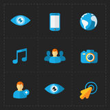 Modern flat social icons set on Dark. This is a vector illustration of Modern flat social icons set on Dark Stock Photo