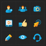 Modern flat social icons set on Dark. This is a vector illustration of Modern flat social icons set on Dark Royalty Free Stock Photos