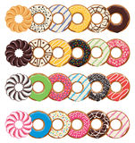 Modern flat style icons of  colorful donuts, vector  Stock Images
