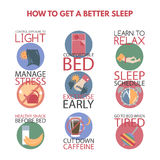 Modern flat style infographic on getting better sleep. Stock Image