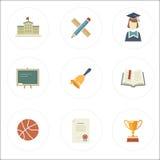 Modern flat style school icons Stock Photos