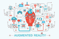 Modern Flat thin Line design Augmented reality concept royalty free illustration