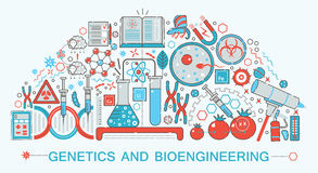 Modern Flat thin Line design biology, genetics and bioengineering technology  Stock Photography